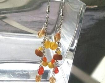 Yellow and orange Long Dangle Earrings