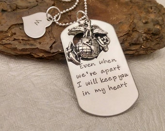 Deployment Necklace - Military Sepration - Hand Stamped Necklace - Deployment Jewelry - Military Deployment - Navy - Air Force - USMC - Army