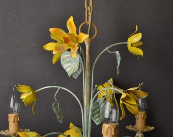 Vintage toleware chandelier with yellow flowers