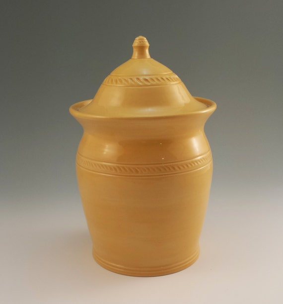 Yellow Kitchen Canister Lidded Jar Large Wheelthrown