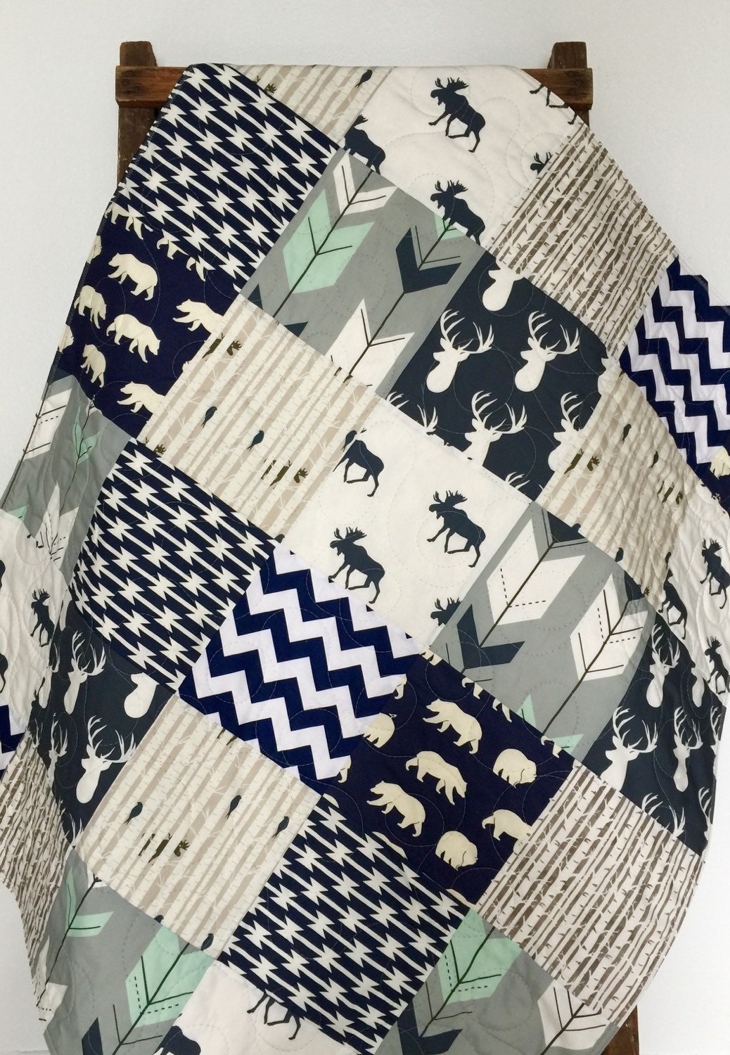 Baby Quilt Boy Moose Bow And Arrow Stag Woodlandbirch By