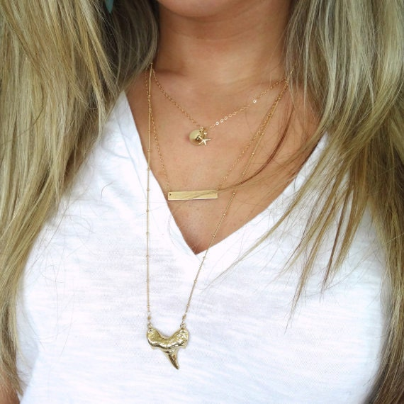 Gold Layer Necklace, Gold Shark Tooth Necklace, Gold Bar Necklace, Gold Starfish Necklace, Initial Necklace, Long Gold Necklace, Gold Filled