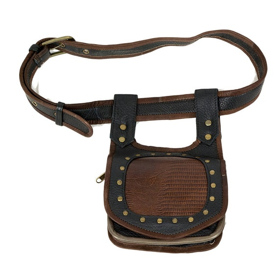 tribal leather utility belt with brown snake print by