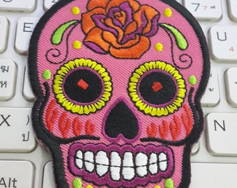 Skull Iron on Patch - Pink Sugar Skull Applique Embroidered Iron on Patch