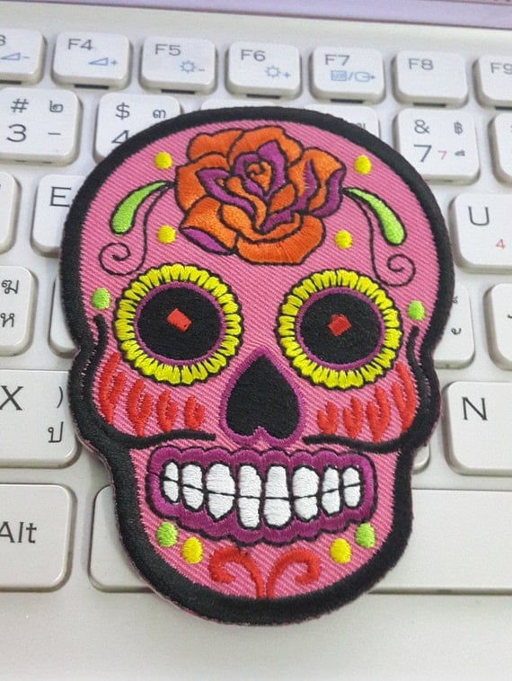 Skull Iron on Patch Pink Sugar Skull Applique Embroidered