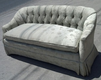 BEFORE FRAME   Vintage Tufted Sofa   Available For Custom Order