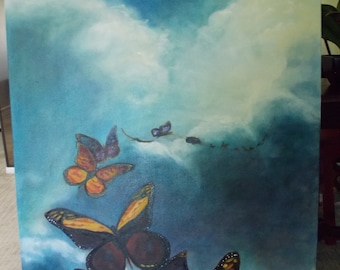 ORIGINAL ART PAINTING  Sold . Custom Order Only . Large   Local pick-up Only   Butterflies Flying from Arizona   Cannot  Ship