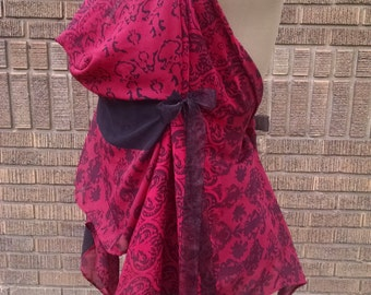 Fairy dress, red Indian print. Sheer with open back & handkerchief hem
