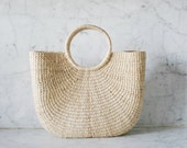 Eco-friendly Artisanal Market Tote Bag / Organic Handwoven Natural Fiber Handbag