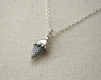 Ice Cream Cone Sterling Silver Necklace - Gift for Teen - Personalize, Customize