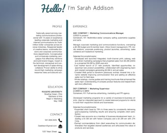 College Graduate Resume Template Instant Download | Resume Template | Professional Resume | Free Cover Letter |  Word Template |  ADDISON