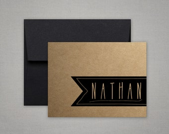 Personalized Stationary | Fathers Day Gift | Stationery For Men | KRAFT BANNER | Gift for Him | Graduation Gift