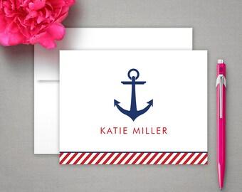 Personalized Stationery - Nautical Design & Anchor - Notecard Set - Personalized Stationary - Stationery Gift Set