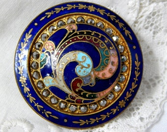 Swirling Feather Design Multi Color Enamel Button with Faceted Steels and Deep Blue Rim