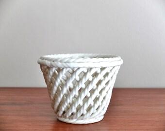 Vintage twisted ceramic planter  - 50s 1950s mid century