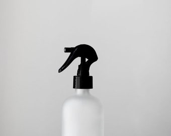 Small Frosted Glass Bottle with Black MIST Nozzle
