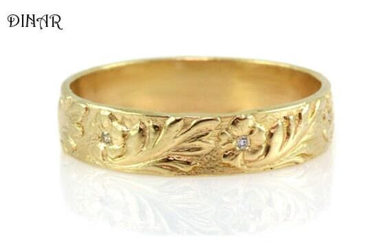 Diamond wedding ring 14k yellow gold floral wedding band like this item publicscrutiny Images