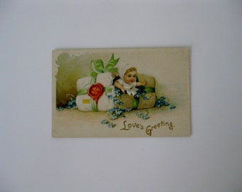 Valentine's Day Vintage Post Card - Love's Greeting - Baby Breaking out of Package - 1910 - Unused