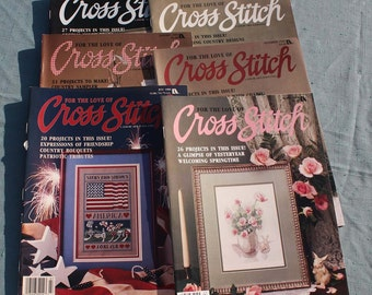 """Lot of Six """"For the love of Cross Stitch"""" Magazines,1988-1989"""