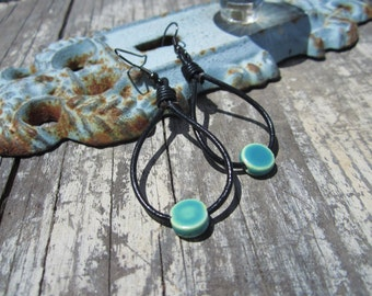 Leather Rope Tired and Ceramic Tear Drop Earrings