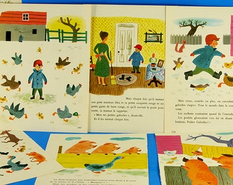 Vintage French Story Book Boy On The Farm Illustrations Paper Pack Retro Nursery Wall Art