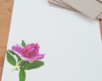 Pink Peony Letter Writing Set - Stationery Set, Floral Personalized Gift Stationary