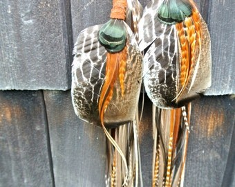 3-Tiered Deerskin-Wrapped Feather Earrings