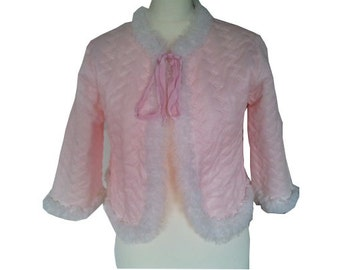 50% OFF  - Cute pale pink quitted night jacket underwear pin up mad men 1950 50s 1960 60s M
