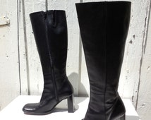 CHARLES DAVID Boots/Black Leather Boots/Womens Tall Boots/Motorcycle Boots/Tall Leather Boots/Bohemian Boots/Retro 80s/Womens Size 6.5