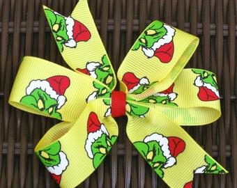 Grinch 4 Inch Hair Bow in 5 Versions - U Pick 1- Perfect for Dr. Seuss Party! - Grinch Party Favor - Dr Seuss Party Bow - BowBravo