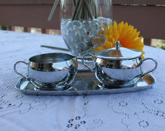Milbern Creations Crome Creamer and Sugar Bowl with Tray