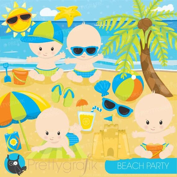 80% OFF SALE Beach Baby boys clipart by Prettygrafikdesign ...