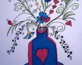 Blue and Red Hearts and Flowers