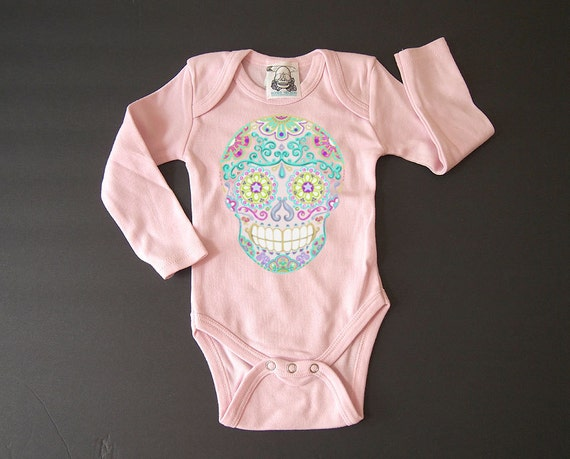Long Sleeve Pink Skull Trendy baby clothes Hippie Baby 3 6