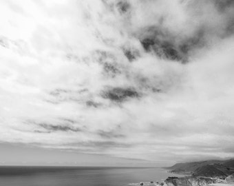 Big Sur Photography - storm clouds big sur California black and white photography coastal art 16x20 11x14 ocean wall art 8x10 5x7 Sublime