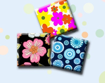 """RETRO FUNKY FLOWERS - 30 x 1"""" square images for pendants, magnets, decoupage, scrap-booking.  Instant Download #207."""