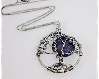 Tree of Life Necklace / Tree of Life Pendant - Antiqued Sterling Silver Tree of Life Necklace with Blue Moon, Large Size