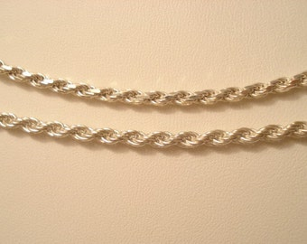 """Necklace And Bracelet Matching Like New Vintage Sterling Rope 18"""" And 7.25"""""""