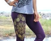 Lilikoi Yoga Leggings - Passion fruit mandala - vines, fruit and passion flower leggings. Gold screen print on American Apparel Leggings.