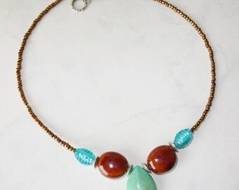 Turquoise and Brown Necklace, Stone, Glass and Ceramic Beads Handmade