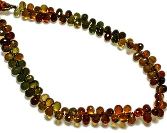 Petro tourmaline micro-faceted teardrops, AAA grade.  Select a size:  3x4.5mm - 4x6mm