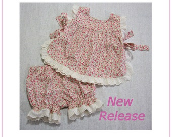 Baby sewing pattern for the Isabelle Baby Set, baby girls pant & top pdf sewing pattern sizes 3 mths to 4 yrs romper pattern