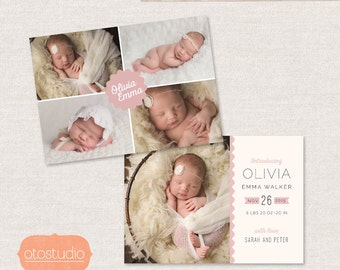 Birth Announcement Template - Cutie Pie CB053 - for Photographers PSD frame