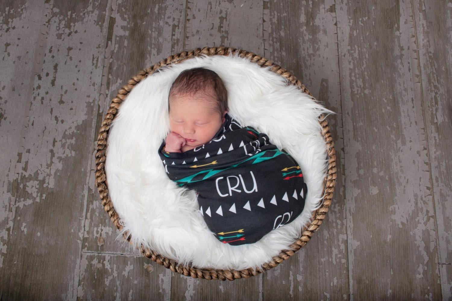 Personalized Swaddle Blanket With Aztec Print Aztec