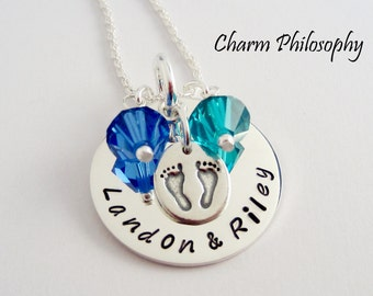 Personalized Mom Necklace - Kids Names and Birthstones - New Mom of Twins - Grandmother's Necklace - 925 Sterling Silver Jewelry
