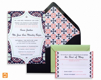 Mexico Destination Wedding Printable Invitation Suite with Print-at-Home Save the Date and Print-ready Information Card Inspired by Talavera