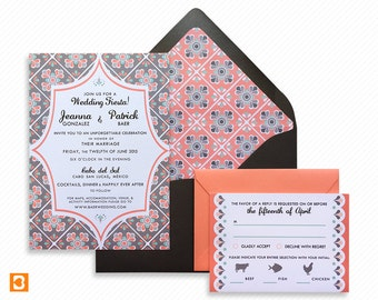 Mexico Talavera Printable Wedding Invitation Suite with Print-at-Home Save the Date and Print-ready Destination Wedding Information Card