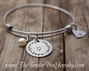 Teach Love Inspire Stainless Charm Bangle Teacher appreciation gift Teacher's gift Teachers gift Stainless Charm Bracelet