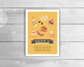 Couples BBQ Baby Shower Invitation - Customized co-ed BabyQ invite in Summer Yellow, Orange & Pink, printable pdf or jpeg