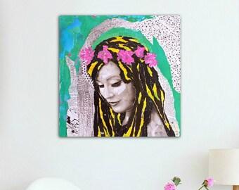 Original painting - Canvas art - Modern painting - Collage on canvas - Contemporary painting - Collage art - Wall art - Portrait art.